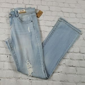 NEW Mudd Light Wash Skinny Boot Destructed Jeans